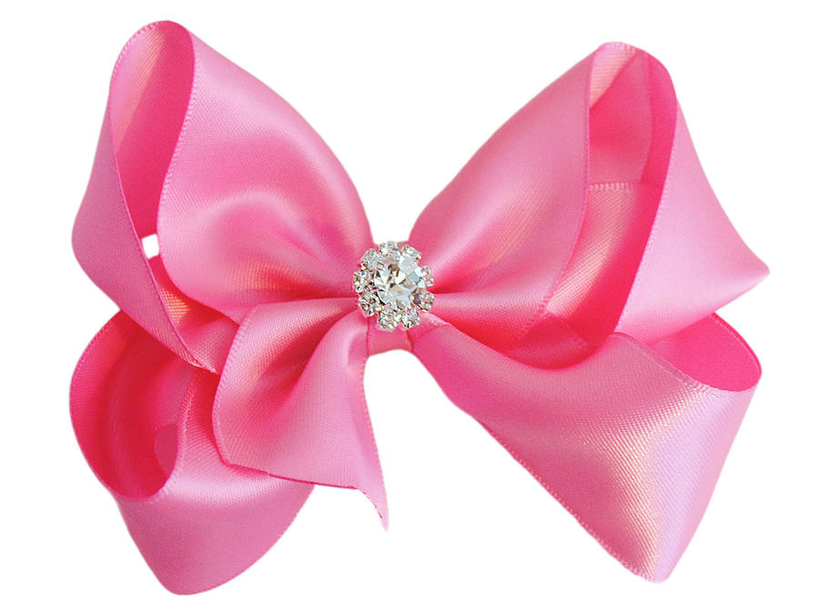 satin bow with sparkly crystal centre by candy bows ...