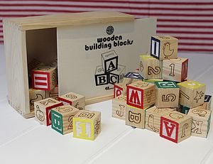 Wooden Alphabet & Number Blocks - toys & games
