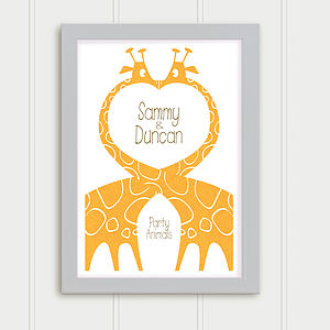 Giraffes: Personalised Wedding Print