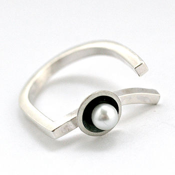 Silver Pearl Art Deco Ring, Asymmetrical