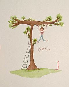 Personalised Boy And Tree Name Painting - children's room