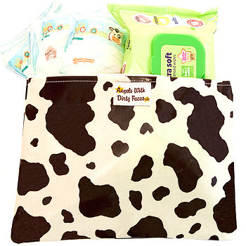 COW PRINT NAPPY AND WIPES HOLDER