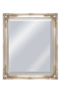 French Style Ornate Silver Framed Mirror - bedroom