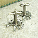 Wild Elephant Cufflinks Antiqued Pewter