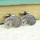 Wild Hedgehog Cufflinks Antiqued Pewter