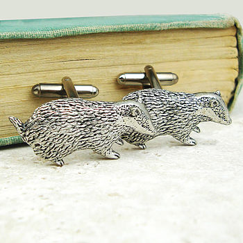 Wild Badger Cufflinks Antiqued Pewter