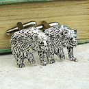 Wild Bear Cufflinks Antiqued Pewter