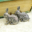 Wild Rabbit Cufflinks Antiqued Pewter