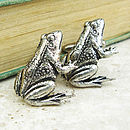Wild Frog Cufflinks Antiqued Pewter