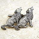 Wild Wolf Cufflinks Antiqued Pewter Wolves