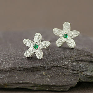 May Birthstone Emerald And Silver Earrings - women's jewellery