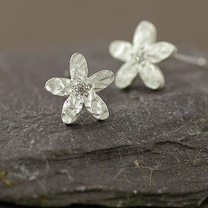 Silver And Diamond Flower Earrings