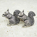 Wild Squirrel Cufflinks Antiqued Pewter