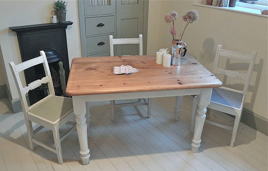 Pine Painted Farmhouse Kitchen Table By Distressed But Not Forsaken