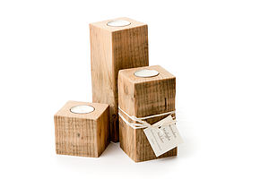 Set Of Three Natural Wood Tea Light Holders