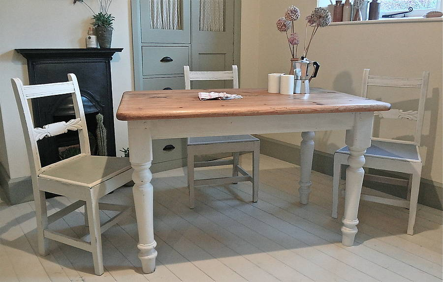 Pine Painted Farmhouse Kitchen Table By Distressed But Not