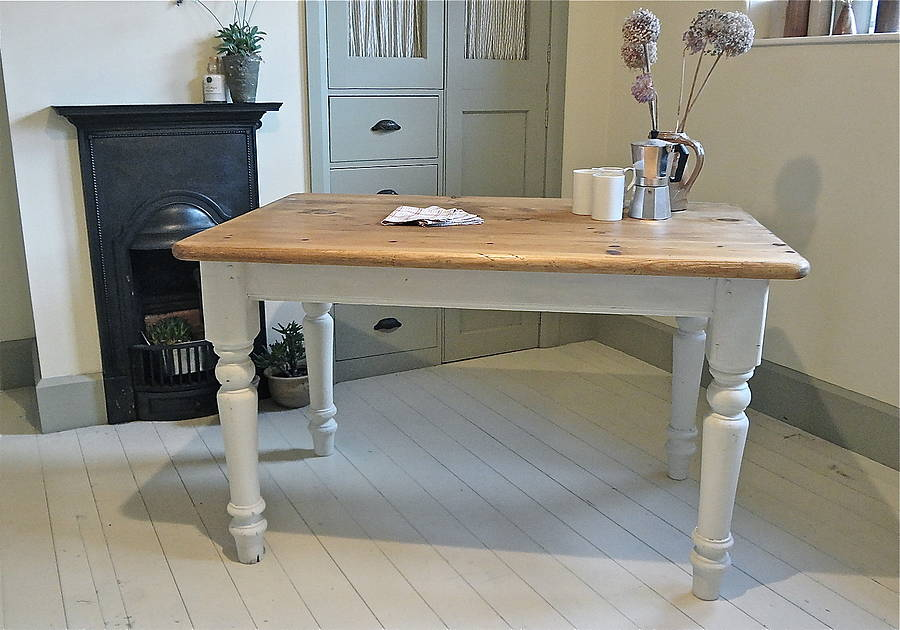 Pine Painted Farmhouse Kitchen Table By Distressed But Not Forsaken Notonth
