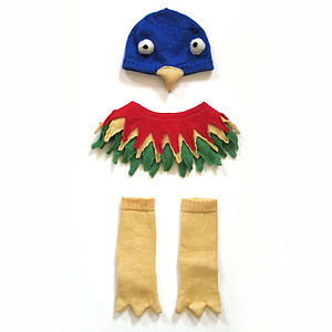 Knitted Parrot Hat Collar And Booties Set - clothing