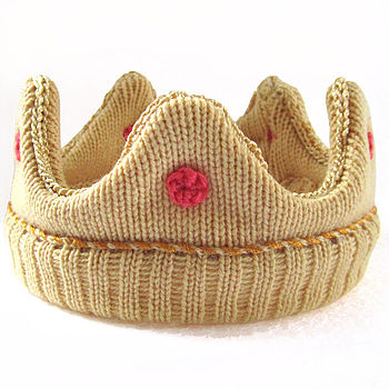 Knitted Baby Crown - Pink Jewels