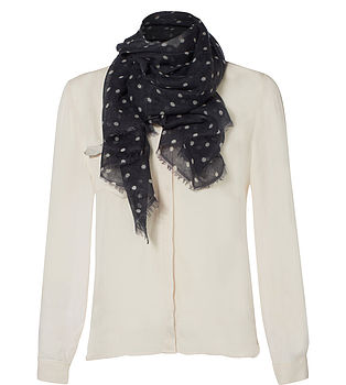 Cashmere Spotty Scarf - Charcoal Blue
