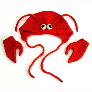 Knitted Lobster Hat And Mittens Set - babies' hats