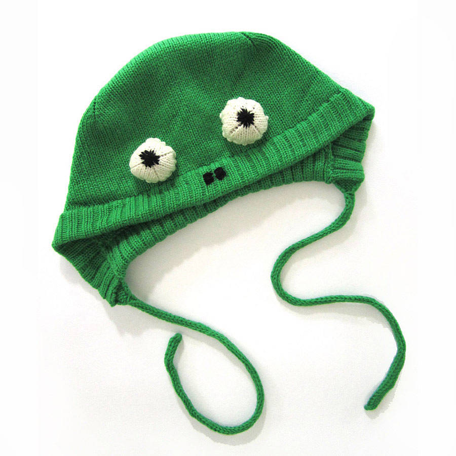 Knitting Pattern For Frog Hat : knitted frog hat by the miniature knit shop notonthehighstreet.com