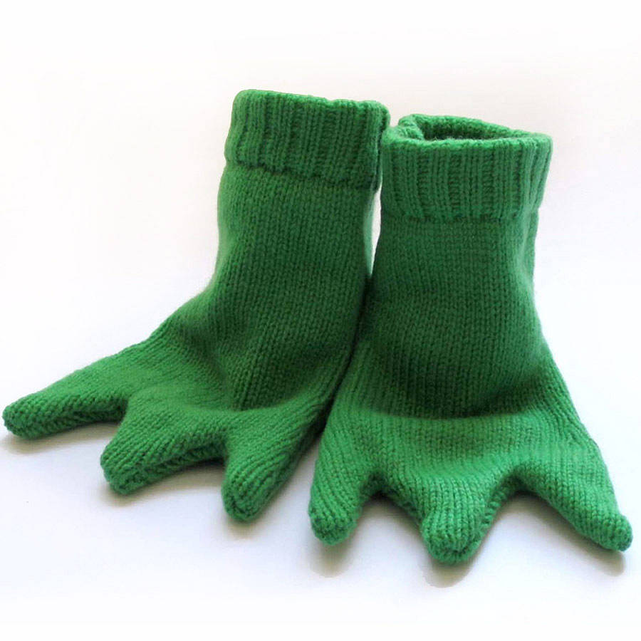 Knitting Pattern For Frog Slippers : knitted frog feet booties by the miniature knit shop ...