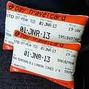 Small and large London Travelcard cushion