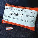 Large London Travelcard cushion