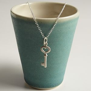 Personalised Silver Key Necklace - charm jewellery