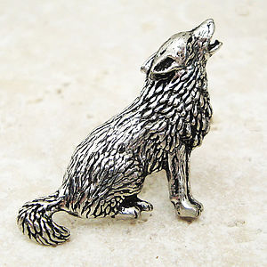 Wild Wolf Tie Pin Antiqued Pewter - ties & tie clips