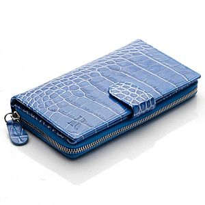 Leather Clutch Wallet In Blue Nile - bags, purses & wallets
