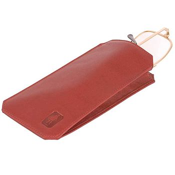 Carmine red leather glasses case