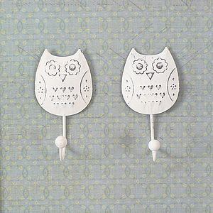 Set Of Two Owl Hooks - storage & organising