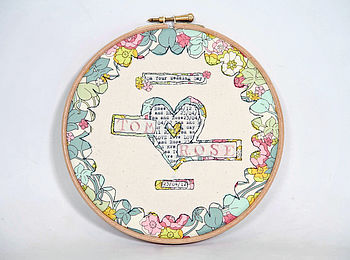 Personalised Wedding Day Embroidery Hoop Art