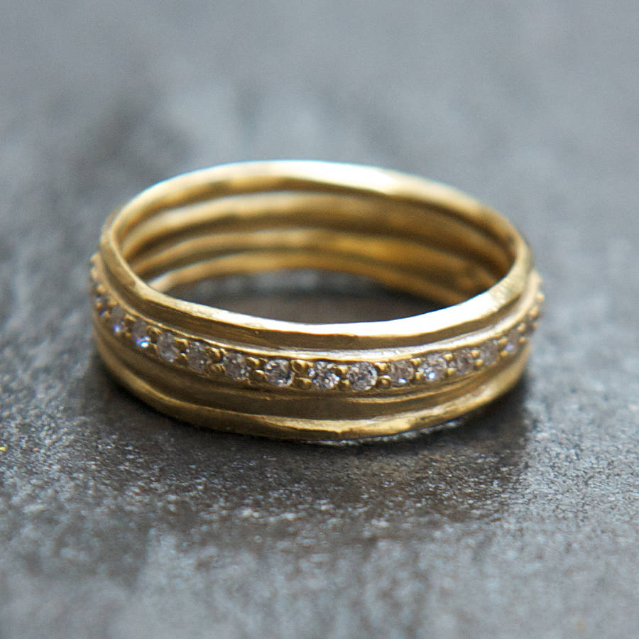 pave diamante hammered gold ring by rochelle shepherd