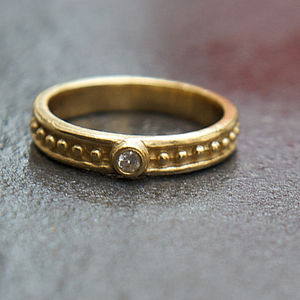 Hammered Gold Band Ring With Solitaire White Zircon - rings