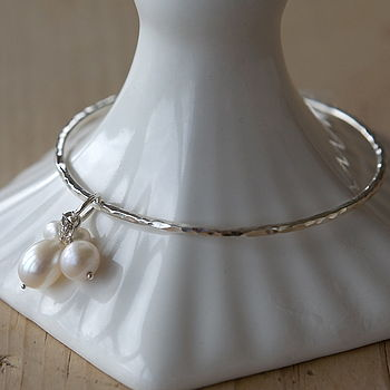Silver Bangle With Freshwater Pearls