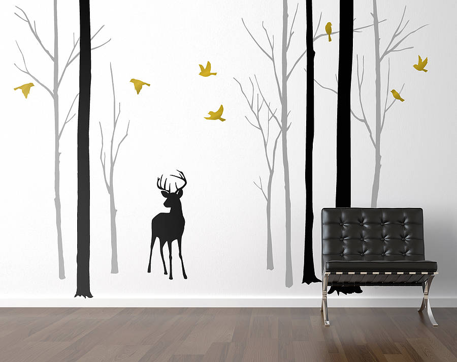 deer in the forest black\/grey wall sticker by zazous  notonthehighstreet.com