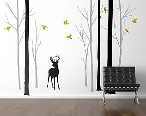 Deer In The Forest Black/Grey Wall Sticker - bedroom
