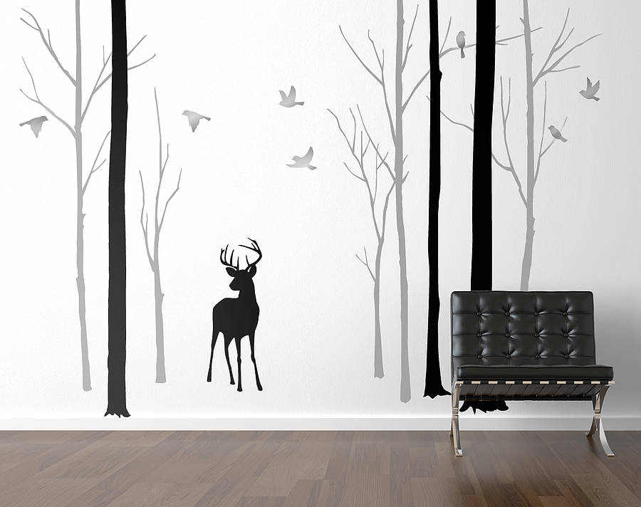 deer in the forest black grey wall sticker by zazous birch tree forest wall sticker pack of trees vinyl