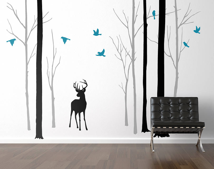 Gentil Deer In The Forest Black/Grey Wall Sticker