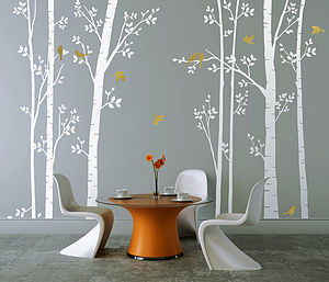 Leafy Trees White Wall Sticker - dining room
