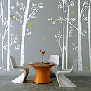 Leafy Trees White Wall Sticker