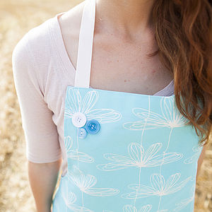 Turquoise Etched Floral Apron - aprons