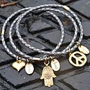 Personalised Braided Leather Charm Bangle