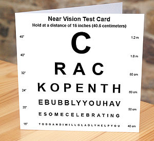 'Crack Open The Bubbly' Eye Test Card
