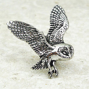 Barn Owl Tie Pin Antiqued Pewter - men's jewellery