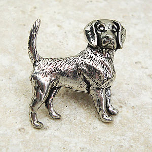 Beagle Tie Pin Antiqued Pewter - ties & tie clips