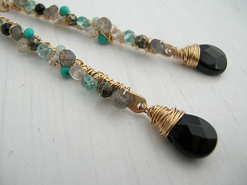 Long Gemstone Earrings